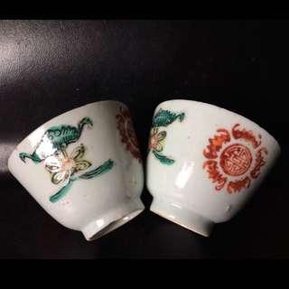 聽雨樓:#MFC-0110:【民國】粉彩五福捧壽茶杯一對(瑕疵)
