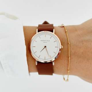 Rosefield the tribeca white brown rose gold watch 手錶 皮錶
