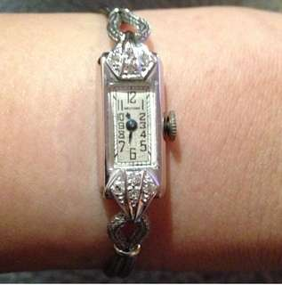 1930's 14k white gold with diamond antique watch