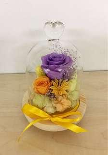 Diy 保鮮花~會發光的玻璃罩~浪漫紫玫瑰~送給至愛的最佳禮物🎁🌸🌸喜歡的請留言或whats app 60189359