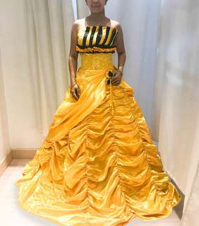 Yellow and black ball gown sale