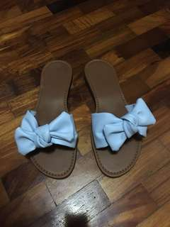 Powder blue slip ons size 7