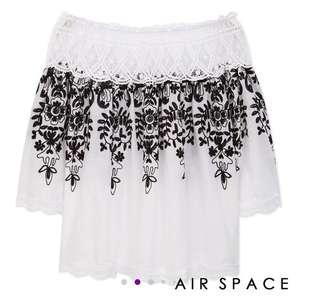 AIR SPACE 平口精緻花朵上衣