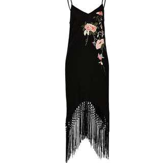 Black boho Midi Slip Dress