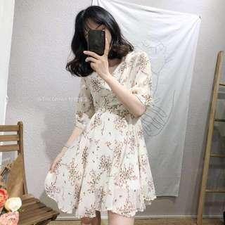 🚚 穿上變仙女的碎花綁帶洋裝