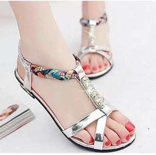 Sepatu sandal wanita waena silver size 40