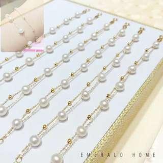 自家緬甸玉石珠寶完美追求者之選 。 價格: $1,222HKD 玉石: 點真珠雙珠手鏈 尺寸: 5.5mm~6mm 鑲嵌: 電鍍18k (需先過數預訂後交收限6套/需時約3日)🙇