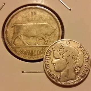 大約1.8 cm同2.4 cm兩個銀仔 合共