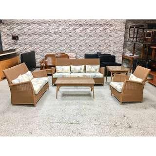 香榭二手家具*高級籐製 1+2+3+大小茶几沙發椅組(含座墊抱枕)-藤沙發-藤椅-二手沙發-客廳沙發-辦公沙發-中古沙發