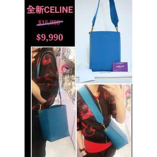全新 CELINE SANGLE 178303 藍色 牛皮 手提袋 肩背袋 手袋 Small Bucket Blue Calfskin Handbag