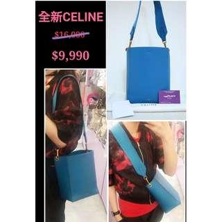 全新 CELINE SANGLE 178303 藍色 牛皮 手提袋 肩背袋 手袋 Small Bucket Blue Calfskin Handbag