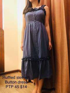 Ruffled sleeves midi dress