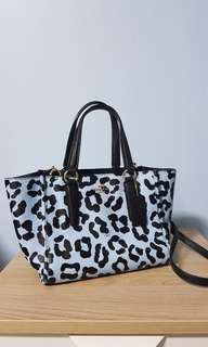 Coach sky blue leopard print handbag with strap