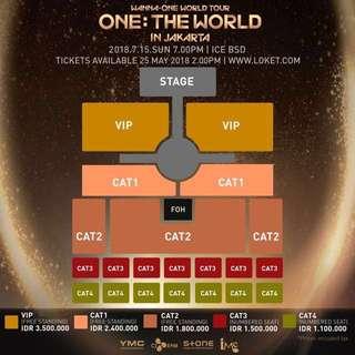 jual tiket konser wanna one !! cat 3 and 4 sold!! ( harga di tambah 250 rb dr harga normal ) Sisa 5 tiket masing masiing kelas #thanks