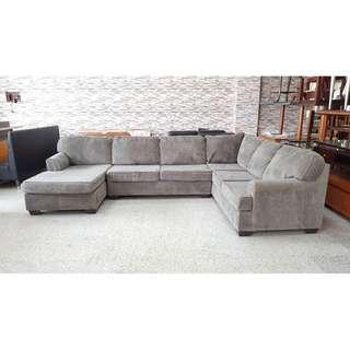香榭二手家具*高級絨布灰色 ㄇ字型大型沙發-L型沙發-布沙發-二手沙發-中古沙發-客廳沙發-辦公沙發-2手沙發-回收二手