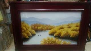 瓷板畫 — 湖水中的天鵝