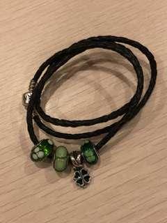 Pandora Leather Bracelet with Charms