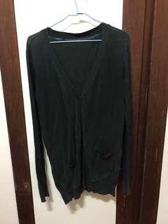 🚚 黑色長版針織外套
