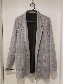 Tokito Hounsdstooth Black White Boyfriend Tuxedo Jacket sz 10