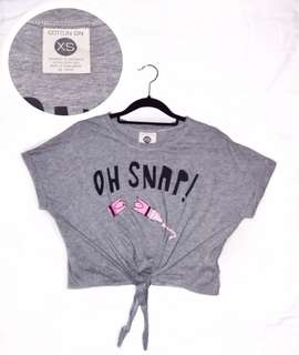 Cotton On 'Oh Snap!' Front Tied Crop Top