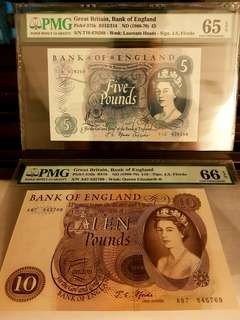 Bank of England 5 & 10 Pounds Paper Note 1966-70