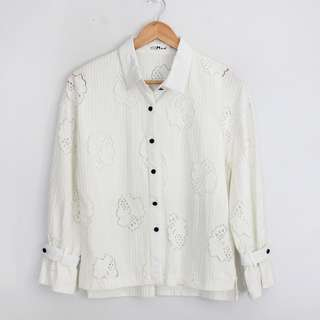 (S-M) Vintage White Lace Longsleeve Blouse Top