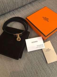 Hermes 黑帶玫瑰金扣