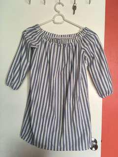 stripes off shoulder dress