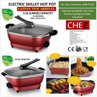 Electric Skillet Hot Pot Easy Cooking Pot NON-STICK Pan NON-PFOA Suits Fry Boil Saute and Grill