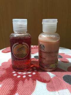 Body shop strawberry shower gel n body lotion
