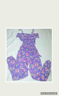 Forever 21 purple floral jumpsuit