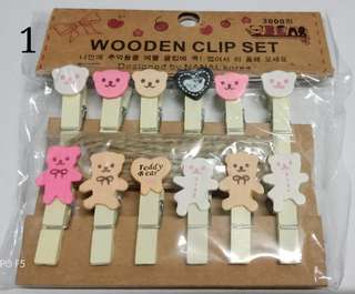 Ready Stock Set of 12 Variety Wooden Clip Set with Linen String