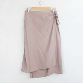 (M-L) Vintage Dusty Pink Flowy Wrap Skirt
