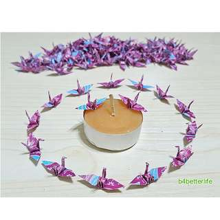 """#FC1-41. Lot of 100pcs Batik Design 1-inch Origami Cranes Hand-folded From 1""""x1"""" Square Paper. (WR paper series)."""