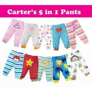 READY STOCK: BABY'S CARTER 5 PIECES LONG PANTS- ASSORTED DESIGN