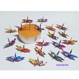 """#FC1-46. Lot of 100pcs Kaleidoscope Design 1-inch Origami Cranes Hand-folded From 1""""x1"""" Square Paper. (WR paper series)."""