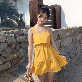 🚚 美背渡假風洋裝(黃)