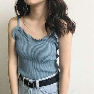 現貨!木耳邊螺紋針織修身顯瘦短版藍色背心