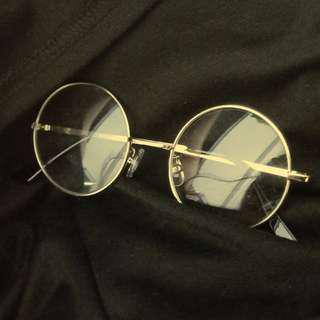 Rose gold round fake glasses