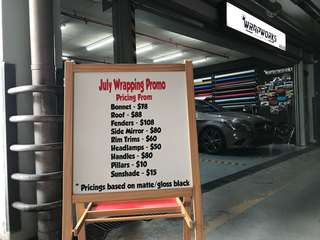 Car wrapping July promotion @ Wrapworks!!