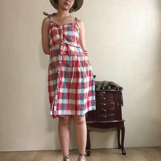 🚚 👧青春妹妹紅格子小洋裝👧