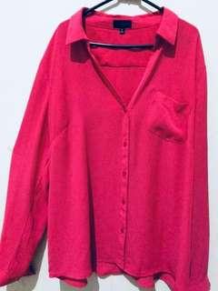 Big size Kemeja shocking pink