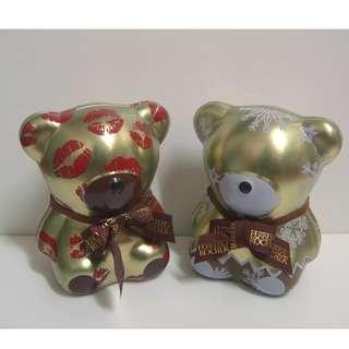 金莎經典小熊巧克力盒 小熊造型鐵盒一對~