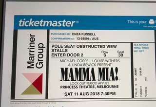 Mamma Mia Musical x 2 tickets