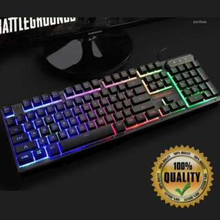 🚚 BNIB Rainbow Backlit Black with Character Glow Gaming Keyboard RA64