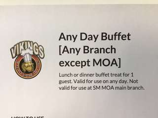 Vikings Luxury buffet voucher- Any day lunch/ buffet ( except MOA)/ 6 vouchers available