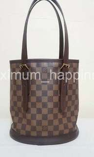 AUTHENTIC LOUIS VUITTON DAMIER EBENE MARAIS BUCKET TOTE / BAG