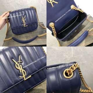 YSL Medium Vicky Bag in navy blue
