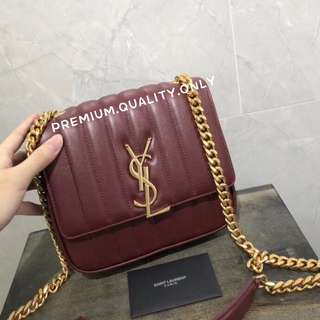 YSL Saint Laurent Vicky Chain Bag in Maroon