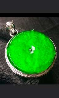 🍀18K White Gold - Grade A 冰种 Imperial Green Coin/平安扣 Jadeite Jade Pendant🍍